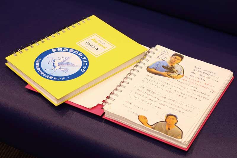 スタッフと患者とのコミュニケーションに使われている「こころノート」。「心を込めて患者と接する」という理念を叶えるため、実践しているもののひとつだ
